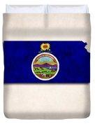 Kansas Map Art With Flag Design Duvet Cover