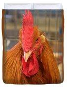 Kansas Red Orange Rooster Close Up Duvet Cover by Robert D  Brozek