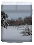 Kansas Snowy Landscape Tree's And Fence Duvet Cover