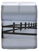 Kansas Snowy Wooden Fence Duvet Cover