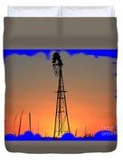 Kansas Windmill Framed Orange Silhouette In Blue Duvet Cover