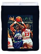 Karl Malone Vs. Michael Jordan Duvet Cover