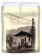 Karlstejn Railroad Shack Duvet Cover by Joan Carroll