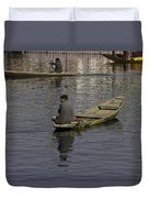Kashmiri Men Rowing Many Small Wooden Boats In The Waters Of The Dal Lake Duvet Cover
