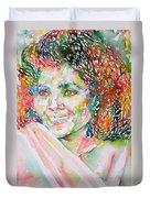 Kathleen Battle - Watercolor Portrait Duvet Cover