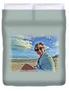 Katie And The Beach Duvet Cover
