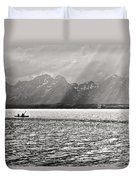 Kayakers On Jackson Lake Duvet Cover