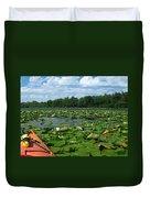 Kayaking Among The Waterlillies Duvet Cover