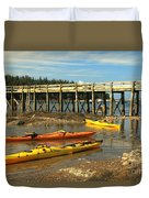 Kayaks By The Pier Duvet Cover