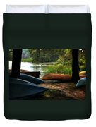 Kayaks On The Shore Duvet Cover