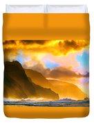 Ke'e Beach Sunset Duvet Cover