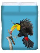 Keel-billed Toucan About To Land Duvet Cover