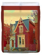 Keep A Light In The Window Til I Come Home Again Winter House Pointe St Charles City Scene Cspandau  Duvet Cover