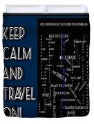Keep Calm And Travel On Nova Scotia Crosswords Duvet Cover