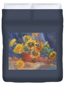 Keep On The Sunny Side - Original Contemporary Impressionist Painting - Sunflower Bouquet Duvet Cover