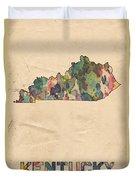 Kentucky Map Vintage Watercolor Duvet Cover