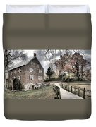 Kerr Grist Mill Stormy Skies Panorama Duvet Cover
