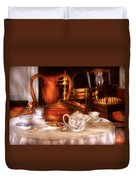 Kettle -  Have Some Tea - Chinese Tea Set Duvet Cover by Mike Savad
