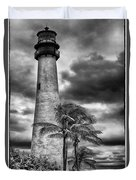 Key Biscayne Fl Lighthouse Black And White Img 7167 Duvet Cover