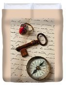 Key Ring And Compass Duvet Cover