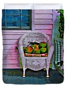 Key West Coconuts - Colorful House Porch Duvet Cover