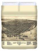 Key West Florida Map 1884 Duvet Cover