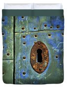 Keyhole On A Blue And Green Door Duvet Cover
