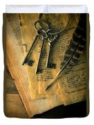 Keys And Quill On Old Papers Duvet Cover