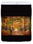 Kid With Backpack Walking In Fall Colors Duvet Cover