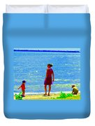 Kids Playing On The Seashore Mom And Little Boys Pointe Claire Montreal Waterscene Carole Spandau Duvet Cover