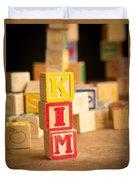 Kim - Alphabet Blocks Duvet Cover by Edward Fielding