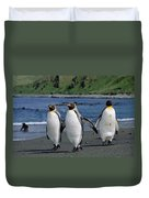 King Penguin Trio On Shoreline Duvet Cover