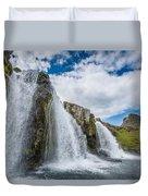 Kirkjufellsfoss Waterfalls, Church Duvet Cover