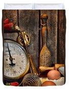 Kitchen - Baking A Strawberry Pie Duvet Cover
