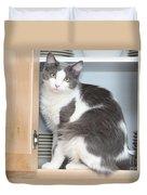 Kitchen Cubbard Cat Duvet Cover