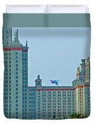 Kite Over Moscow University In Moscow-russia Duvet Cover