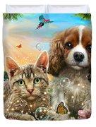 Kitten And Puppy Duvet Cover