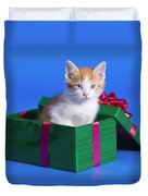 Kitten In Gift Box Duvet Cover