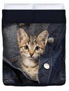 Kitten In Jean Jacket Duvet Cover