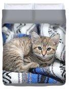 Kitten In The Blanket Duvet Cover