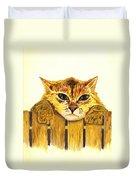 Kitten On Fence Duvet Cover