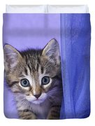 Kitten With A Curtain Duvet Cover
