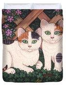 Kittens And Clover Duvet Cover