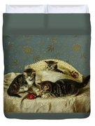 Kittens Up To Mischief Duvet Cover