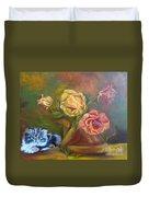 Kitty In The Roses Duvet Cover