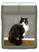 Kittycat In The Snow On The Fence Duvet Cover