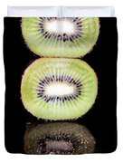 Kiwi On Black Duvet Cover