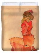 Kneeling Female In Orange-red Dress Duvet Cover