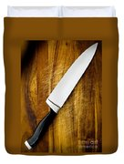 Knife On Chopping Board Duvet Cover