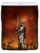 Knight In Shining Armour On A Medieval Battlefield Duvet Cover